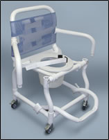 photo of combination shower chair or commode on wheels